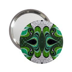 Fractal Art Green Pattern Design 2 25  Handbag Mirrors by BangZart