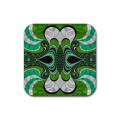 Fractal Art Green Pattern Design Rubber Square Coaster (4 Pack)