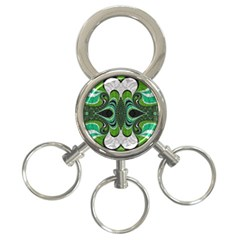 Fractal Art Green Pattern Design 3 Ring Key Chains by BangZart
