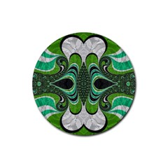 Fractal Art Green Pattern Design Rubber Round Coaster (4 Pack)