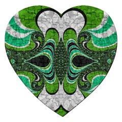 Fractal Art Green Pattern Design Jigsaw Puzzle (heart) by BangZart