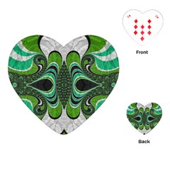Fractal Art Green Pattern Design Playing Cards (heart)