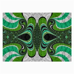 Fractal Art Green Pattern Design Large Glasses Cloth by BangZart