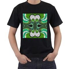 Fractal Art Green Pattern Design Men s T Shirt (black)