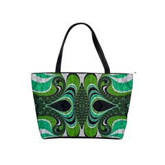 Fractal Art Green Pattern Design Shoulder Handbags by BangZart
