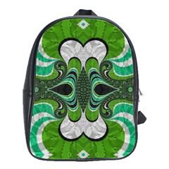 Fractal Art Green Pattern Design School Bags(large)