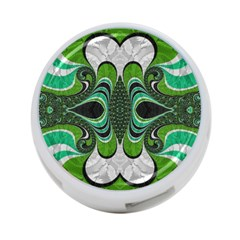 Fractal Art Green Pattern Design 4 Port Usb Hub (two Sides)