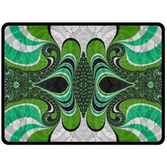 Fractal Art Green Pattern Design Fleece Blanket (large)  by BangZart