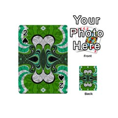 Fractal Art Green Pattern Design Playing Cards 54 (mini)