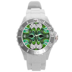 Fractal Art Green Pattern Design Round Plastic Sport Watch (l)