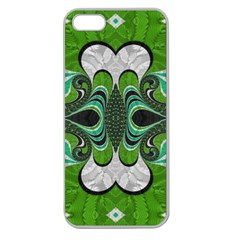 Fractal Art Green Pattern Design Apple Seamless Iphone 5 Case (clear) by BangZart