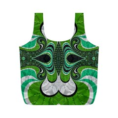 Fractal Art Green Pattern Design Full Print Recycle Bags (m)