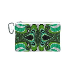 Fractal Art Green Pattern Design Canvas Cosmetic Bag (s) by BangZart