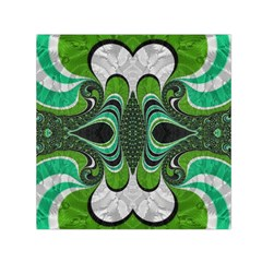 Fractal Art Green Pattern Design Small Satin Scarf (square) by BangZart