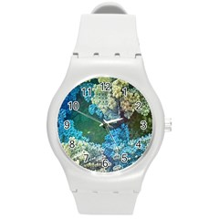 Fractal Formula Abstract Backdrop Round Plastic Sport Watch (m) by BangZart