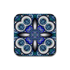 Fractal Cathedral Pattern Mosaic Rubber Square Coaster (4 Pack)  by BangZart