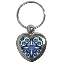 Fractal Cathedral Pattern Mosaic Key Chains (heart)