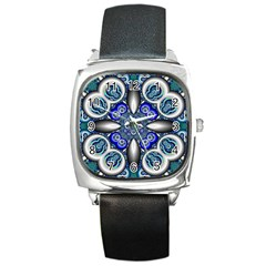 Fractal Cathedral Pattern Mosaic Square Metal Watch by BangZart