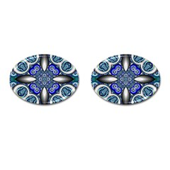 Fractal Cathedral Pattern Mosaic Cufflinks (oval) by BangZart