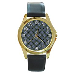 Space Wallpaper Pattern Spaceship Round Gold Metal Watch