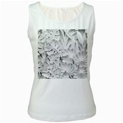 Pattern Motif Decor Women s White Tank Top