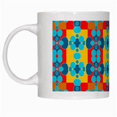 Pop Art Abstract Design Pattern White Mugs by BangZart