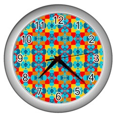 Pop Art Abstract Design Pattern Wall Clocks (silver)  by BangZart
