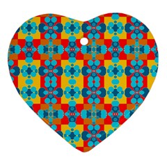 Pop Art Abstract Design Pattern Heart Ornament (two Sides) by BangZart