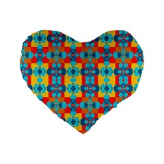 Pop Art Abstract Design Pattern Standard 16  Premium Flano Heart Shape Cushions