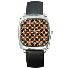 Kaleidoscope Image Background Square Metal Watch