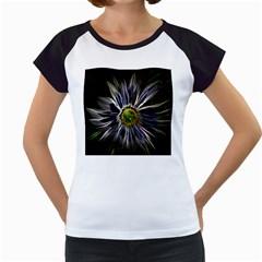 Flower Structure Photo Montage Women s Cap Sleeve T