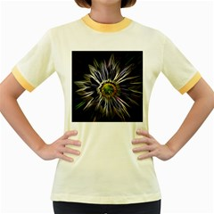 Flower Structure Photo Montage Women s Fitted Ringer T Shirts