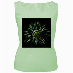 Flower Structure Photo Montage Women s Green Tank Top