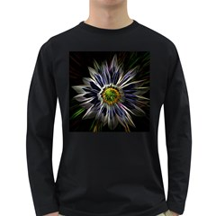 Flower Structure Photo Montage Long Sleeve Dark T Shirts