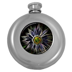 Flower Structure Photo Montage Round Hip Flask (5 Oz) by BangZart