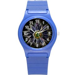 Flower Structure Photo Montage Round Plastic Sport Watch (s) by BangZart
