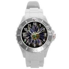 Flower Structure Photo Montage Round Plastic Sport Watch (l) by BangZart