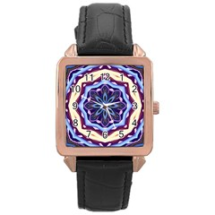 Mandala Art Design Pattern Rose Gold Leather Watch