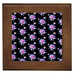 Flowers Pattern Background Lilac Framed Tiles by BangZart