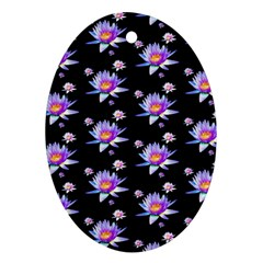 Flowers Pattern Background Lilac Ornament (oval)