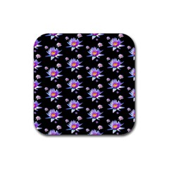 Flowers Pattern Background Lilac Rubber Coaster (square)
