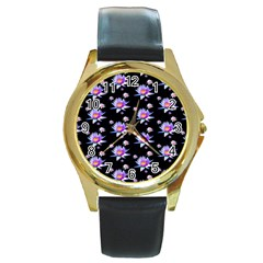 Flowers Pattern Background Lilac Round Gold Metal Watch by BangZart