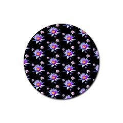 Flowers Pattern Background Lilac Rubber Round Coaster (4 Pack)