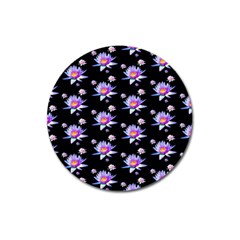 Flowers Pattern Background Lilac Magnet 3  (round) by BangZart