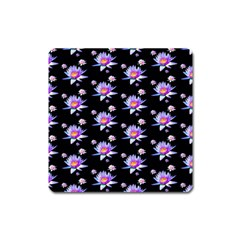 Flowers Pattern Background Lilac Square Magnet