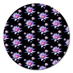 Flowers Pattern Background Lilac Magnet 5  (round) by BangZart