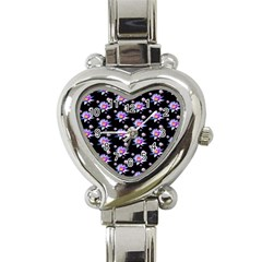 Flowers Pattern Background Lilac Heart Italian Charm Watch