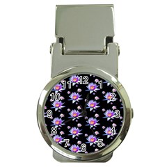 Flowers Pattern Background Lilac Money Clip Watches by BangZart