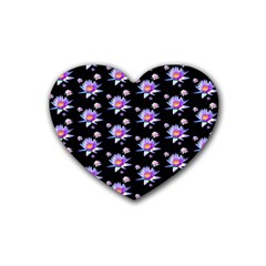 Flowers Pattern Background Lilac Rubber Coaster (heart)  by BangZart