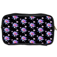 Flowers Pattern Background Lilac Toiletries Bags 2 Side by BangZart